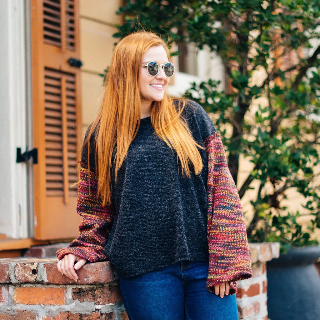 Multicolor Sleeve Grey Sweater