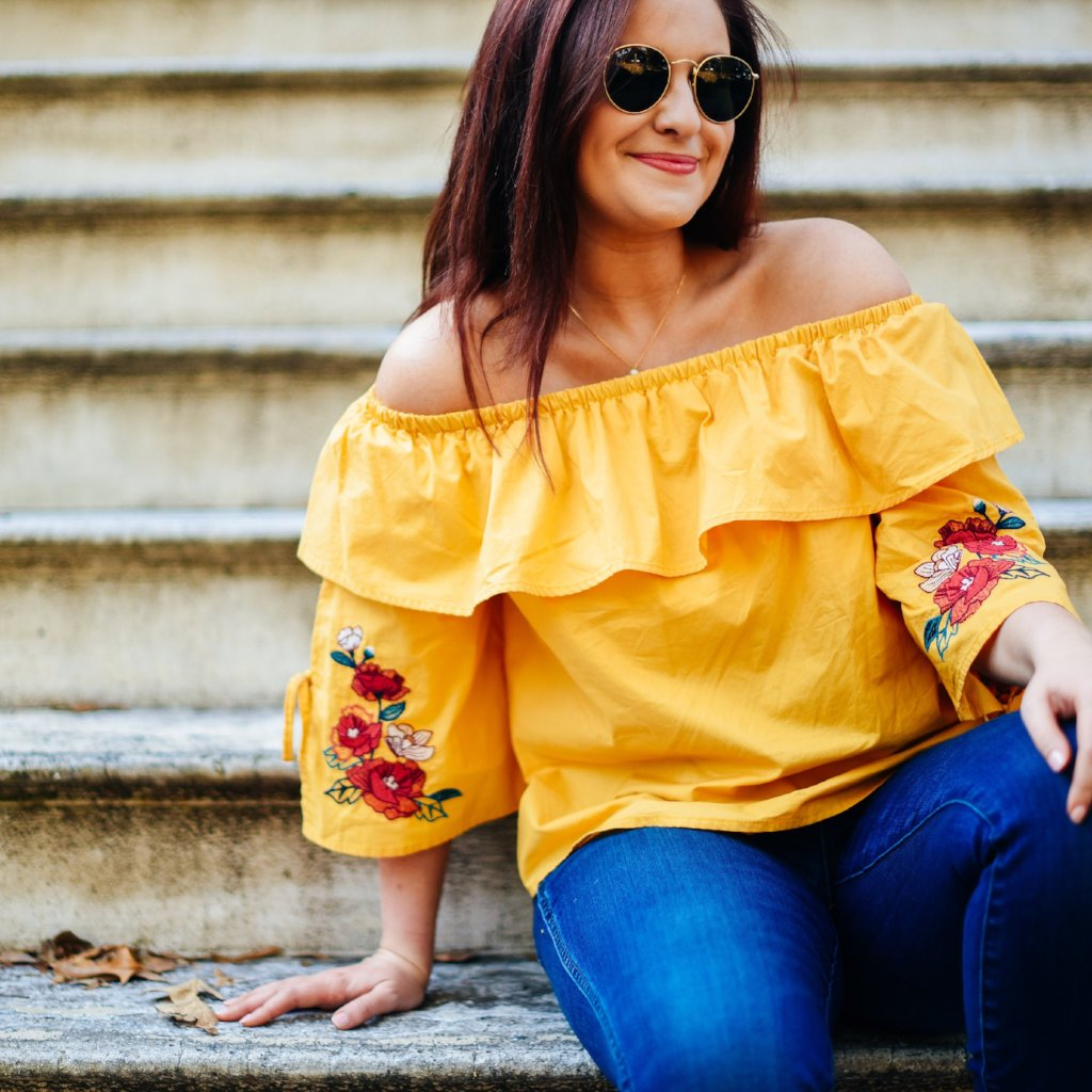 Mustard Off the Shoulder Embroidered Top with Tie Details