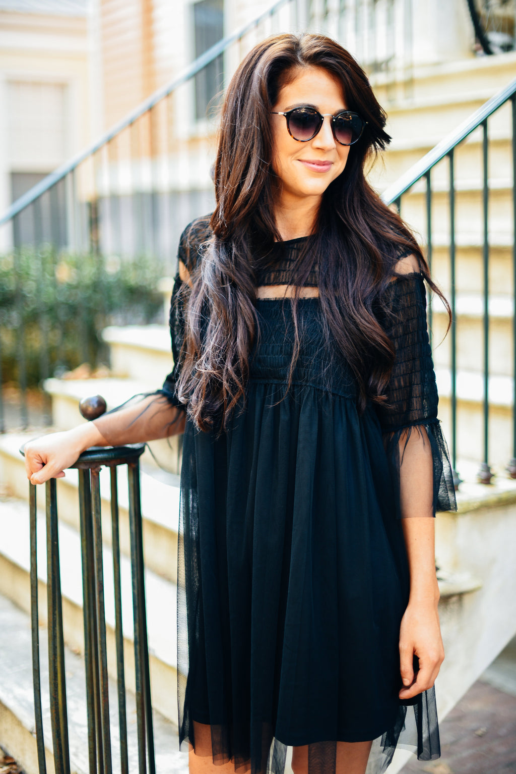 Black Smocked Babydoll Dress Mesh
