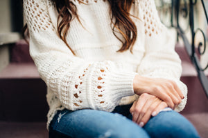Cream Crochet Chenille Sweater