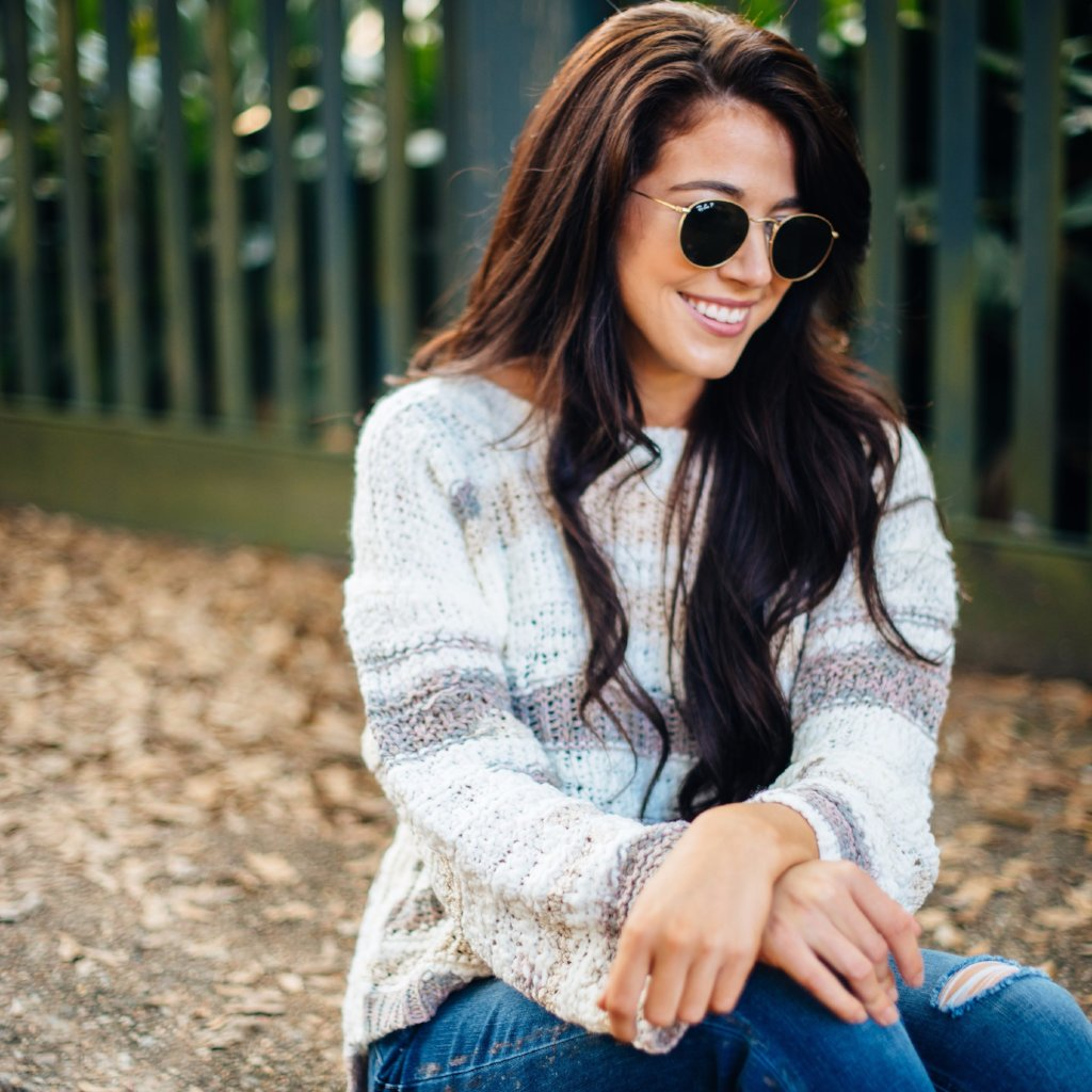 Neutral Color Block Chunky Sweater
