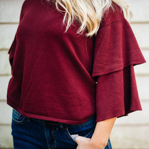 Ruffle Sleeve Maroon Sweater
