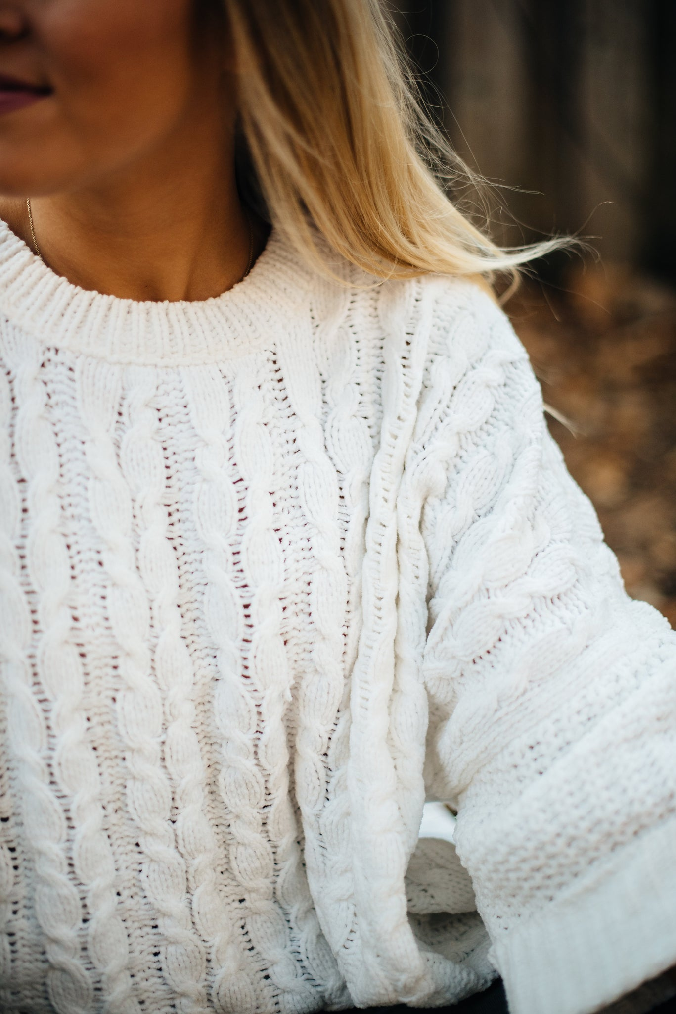 Snow White Cable Knit Sweater