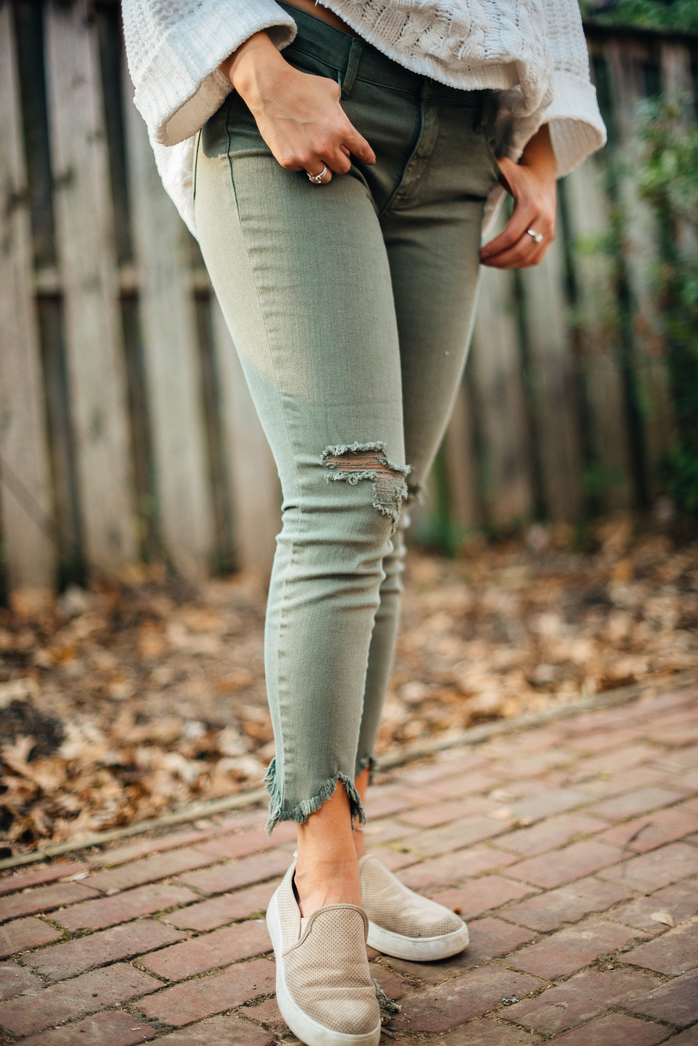 Olive Raw Cut Jeans