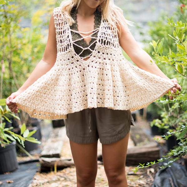 Lace Up Crochet Tank