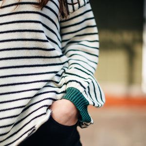 Striped Open Back Balloon Sleeve Sweater