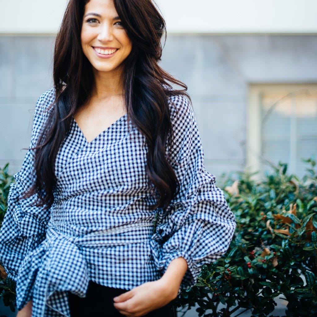 Gingham Statement Sleeve Wrap Shirt