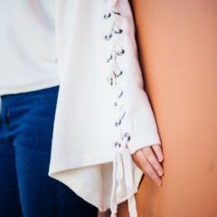 Cream Mock Neck Crop Sweater with Lace Up Sleeve