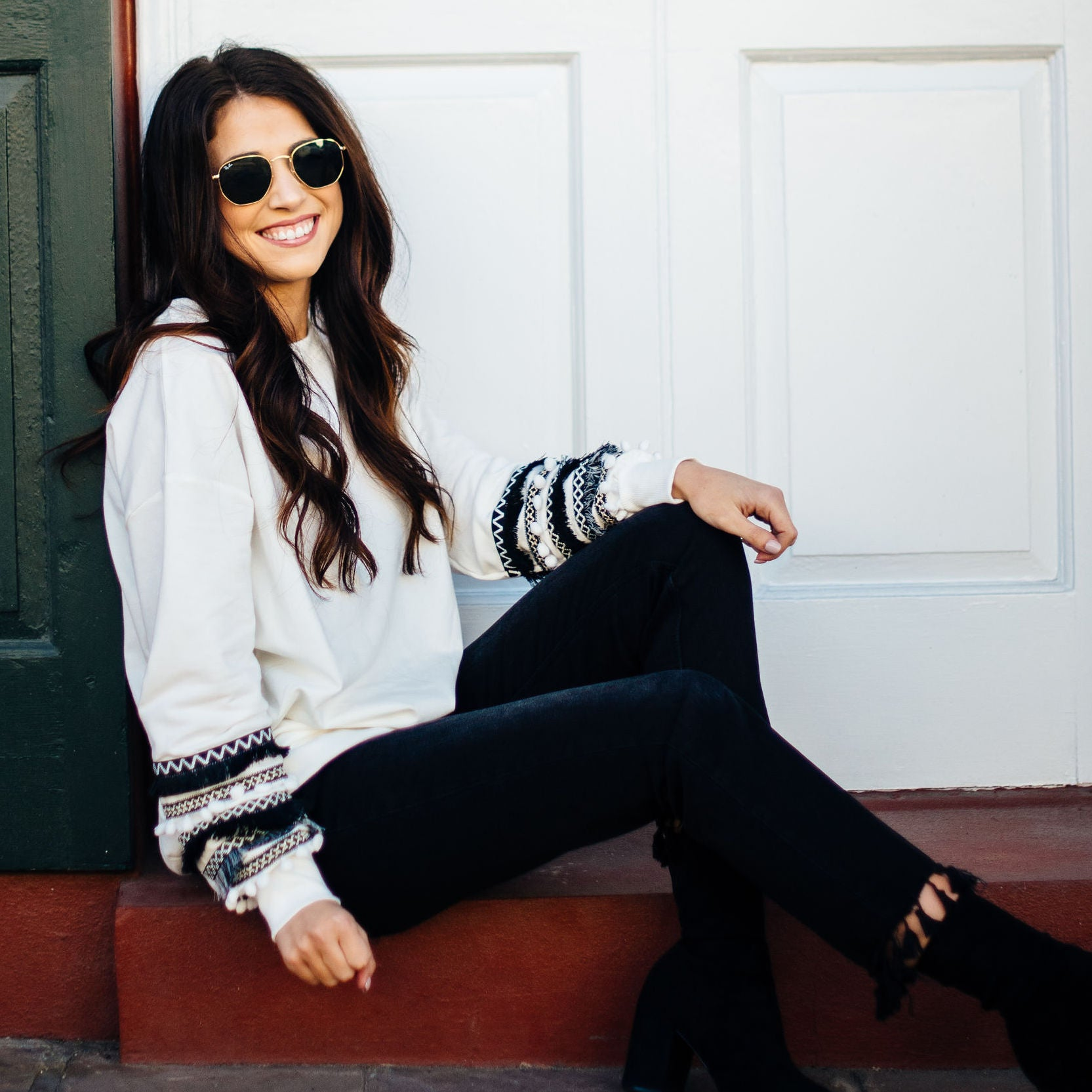 White Sweatshirt with Pom and Fringe Detail