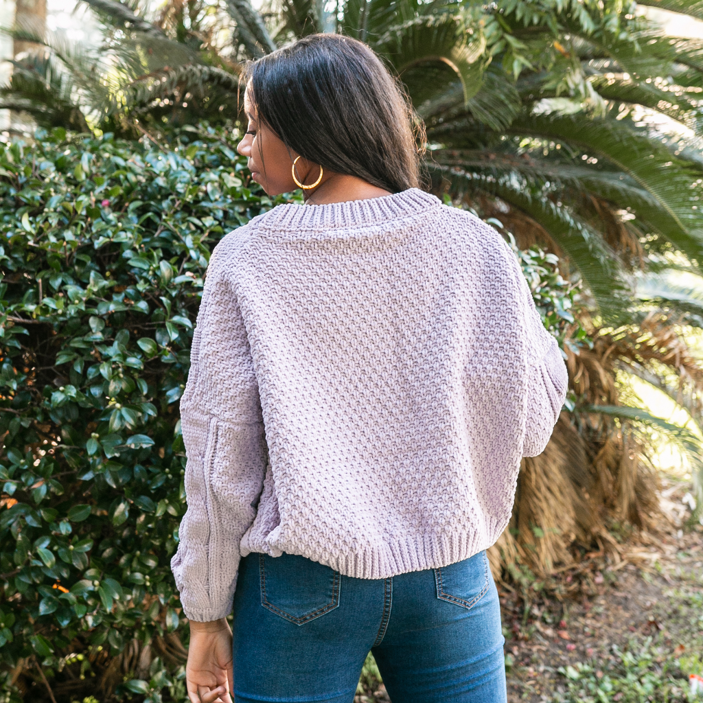 Lavender Crop Cable Knit Sweater