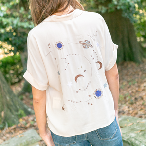 Metallic Space Button Up
