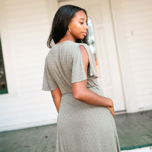 Olive Dotted Maxi Wrap Dress