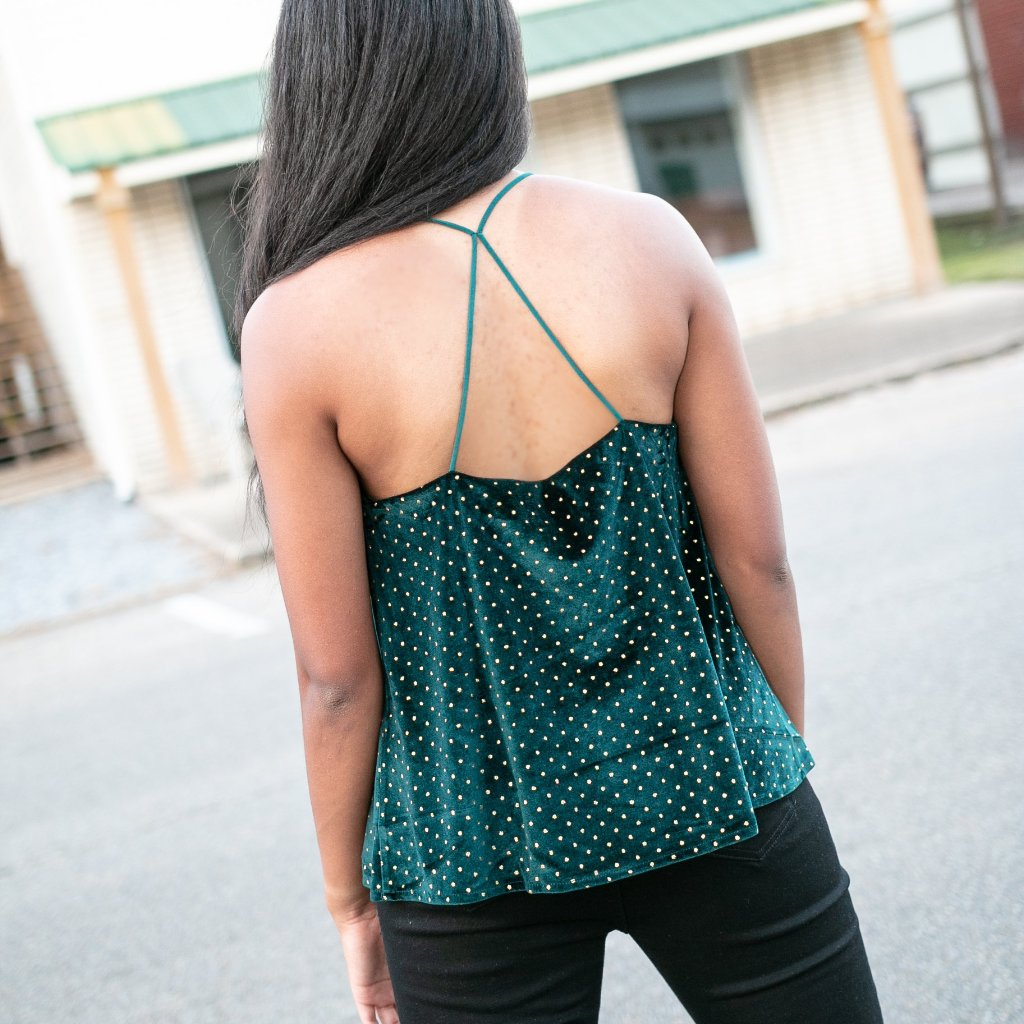 Green Velvet Cami with Gold Polka Dots