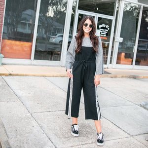 Black Overalls with Stripe Detail