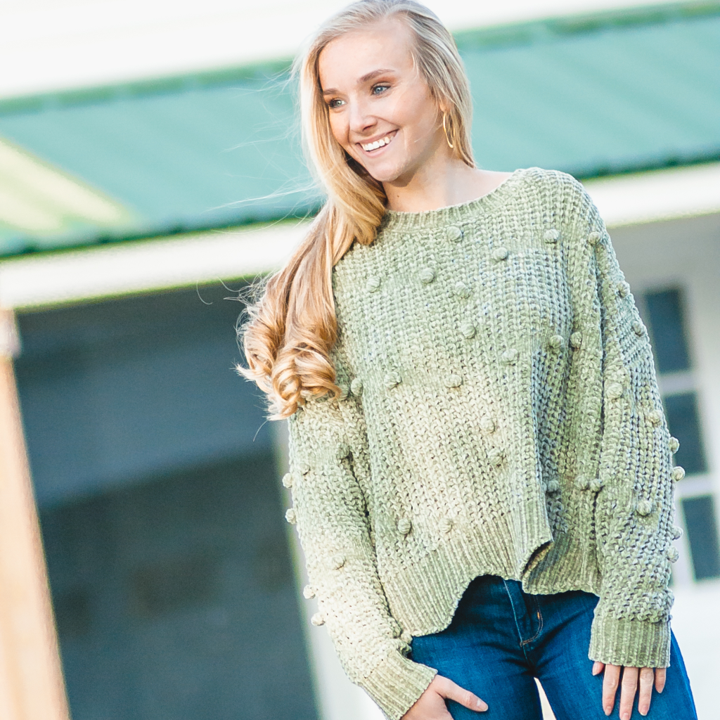 Light Green Pom Sweater