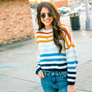 Multicolored Striped Striped Crop Sweater