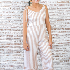 Tan and White Striped Wide Leg Jumper