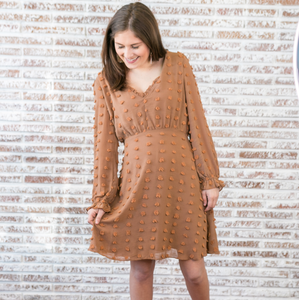 Apricot Textured Dot Dress