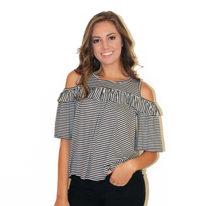 Stripe Ruffle Off The Shoulder Top