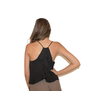 Black Tank with Ruffle Back