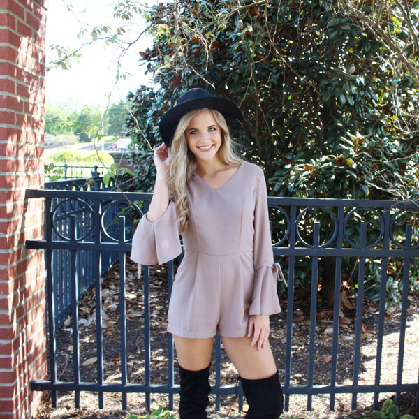 Tan Romper with Bell Sleeve and Tie Detail