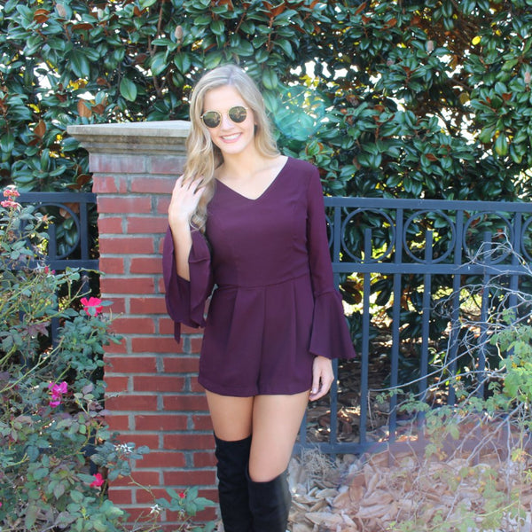 Plum Romper with Bell Sleeve and Tie Detail