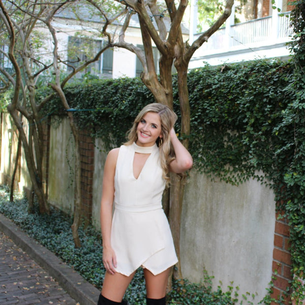 Skort Romper with Choker - Cream