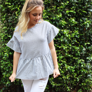 Striped Top with Flounces