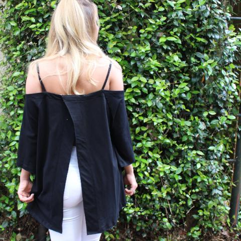 Black Cold Shoulder Open Back Tee