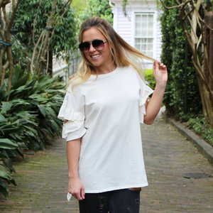 Cream Ruffle Sleeve Tee