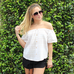 Taupe and White Striped Off the Shoulder Top