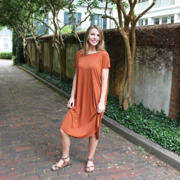 Burnt Orange T-Shirt Maxi Dress