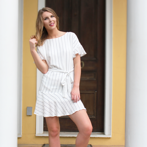 White Striped Linen Dress with Tie Waist and Ruffle Detail