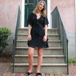 Black Wrap Dress with Flutter Sleeves and Ruffle Detail