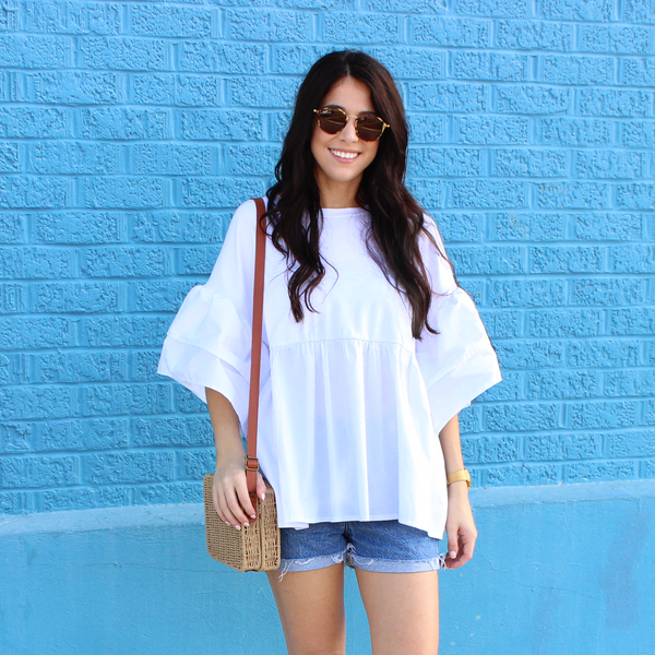 White Peplum Top with Flutter Sleeves