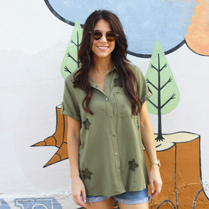 Olive Button Up with Star Detail