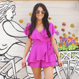 Orchid Wrap Romper with Ruffle Detail