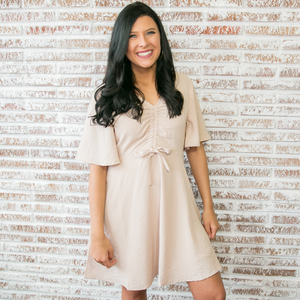 Nude Flutter Sleeve Shift Dress