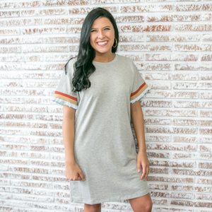 Grey T-Shirt Dress with Contrast Ruffle Sleeve
