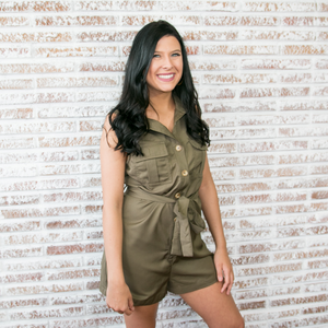 Olive Collared Utility Romper