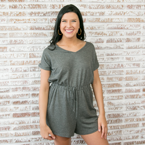 Charcoal Knit T-Shirt Romper