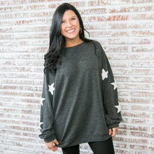 Charcoal Lightweight Sweatshirt with Star Detail