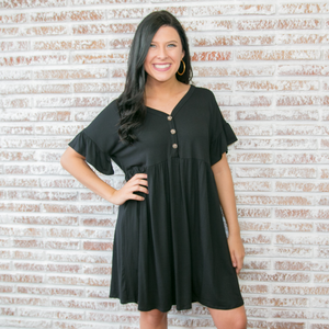 Black Henley Babydoll Dress with Ruffle Sleeve