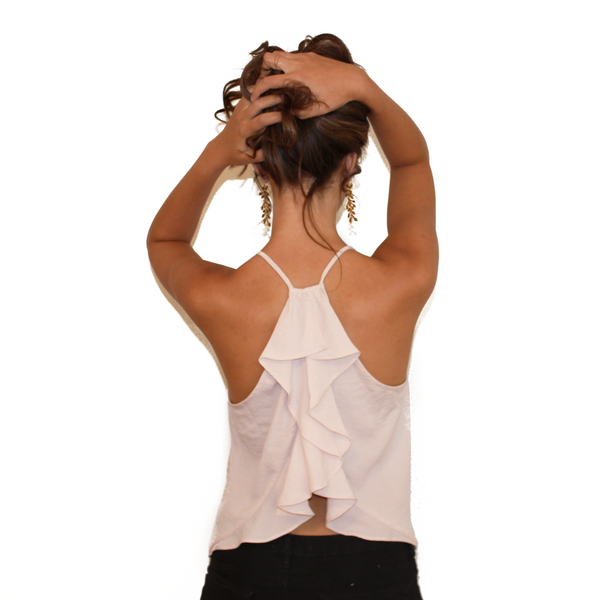 Blush Tank with Ruffle Back