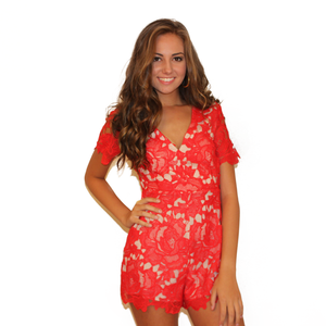 Bright Red Lace Romper