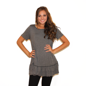 Grey T-shirt Dress with Ruffle