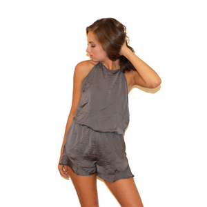 Charcoal Halter Romper With Frills