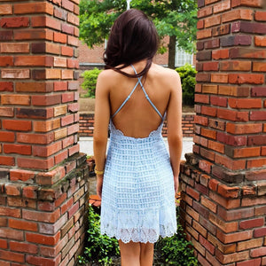 Light Blue Crochet Lace Dress