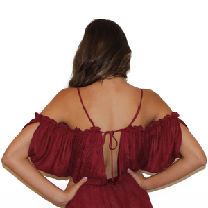 Burgundy Cold Shoulder Romper With Frills