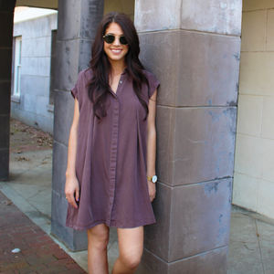 Maroon Shirt Dress with Tie Back